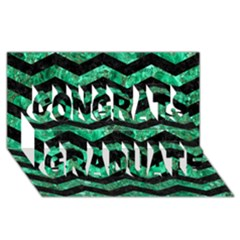Chevron3 Black Marble & Green Marble Congrats Graduate 3d Greeting Card (8x4)