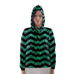 Chevron3 Black Marble & Green Marble Hooded Wind Breaker (women)