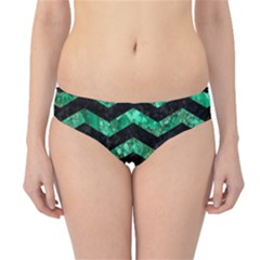 Chevron3 Black Marble & Green Marble Hipster Bikini Bottoms