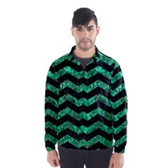 Chevron3 Black Marble & Green Marble Wind Breaker (men)