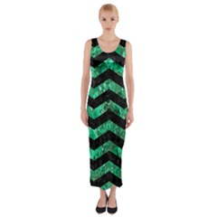 Chevron3 Black Marble & Green Marble Fitted Maxi Dress
