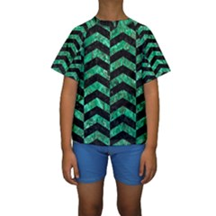 CHV2 BK-GR MARBLE Kid s Short Sleeve Swimwear