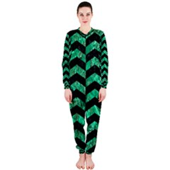 Chevron2 Black Marble & Green Marble Onepiece Jumpsuit (ladies)