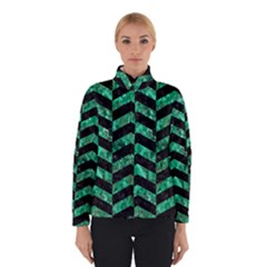 Chevron2 Black Marble & Green Marble Winter Jacket