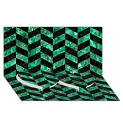 Chevron1 Black Marble & Green Marble Twin Heart Bottom 3d Greeting Card (8x4)