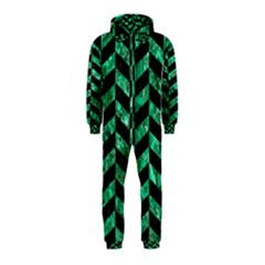 Chevron1 Black Marble & Green Marble Hooded Jumpsuit (kids)