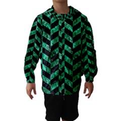 Chevron1 Black Marble & Green Marble Hooded Wind Breaker (kids)