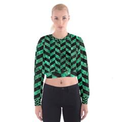 CHV1 BK-GR MARBLE Women s Cropped Sweatshirt