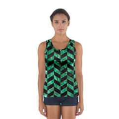Chevron1 Black Marble & Green Marble Sport Tank Top