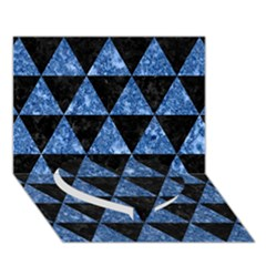 Triangle3 Black Marble & Blue Marble Heart Bottom 3d Greeting Card (7x5)