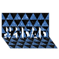 Triangle3 Black Marble & Blue Marble #1 Dad 3d Greeting Card (8x4)