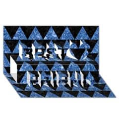 Triangle2 Black Marble & Blue Marble Best Friends 3d Greeting Card (8x4)