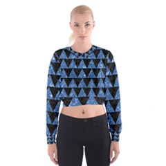 Triangle2 Black Marble & Blue Marble Cropped Sweatshirt