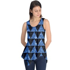 Triangle2 Black Marble & Blue Marble Sleeveless Tunic