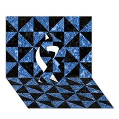 Triangle1 Black Marble & Blue Marble Ribbon 3d Greeting Card (7x5)
