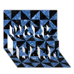 Triangle1 Black Marble & Blue Marble Work Hard 3d Greeting Card (7x5)