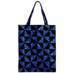Triangle1 Black Marble & Blue Marble Zipper Classic Tote Bag