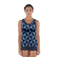 Triangle1 Black Marble & Blue Marble Sport Tank Top