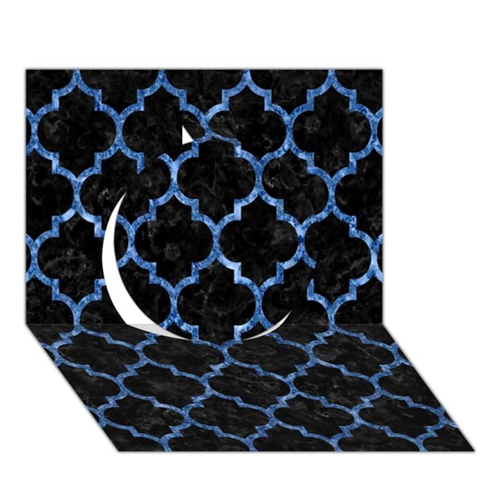 TILE1 BLACK MARBLE & BLUE MARBLE (R) Circle 3D Greeting Card (7x5)