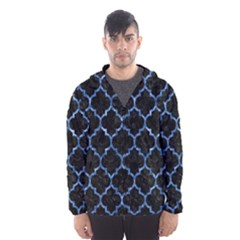 Tile1 Black Marble & Blue Marble (r) Hooded Wind Breaker (men)