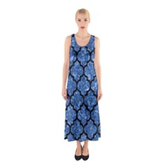 TIL1 BK-BL MARBLE Full Print Maxi Dress