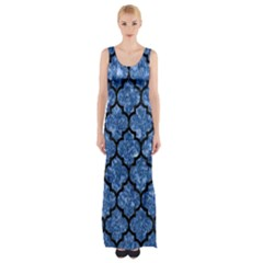 TIL1 BK-BL MARBLE Maxi Thigh Split Dress