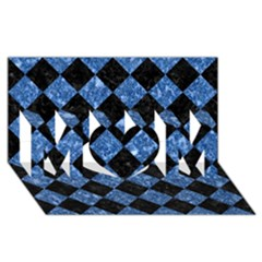 Square2 Black Marble & Blue Marble Mom 3d Greeting Card (8x4)