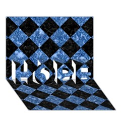 Square2 Black Marble & Blue Marble Hope 3d Greeting Card (7x5)