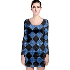Square2 Black Marble & Blue Marble Long Sleeve Bodycon Dress