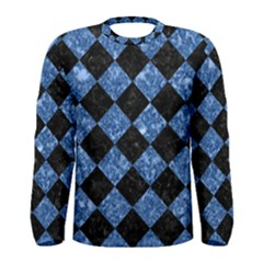 Square2 Black Marble & Blue Marble Men s Long Sleeve Tee