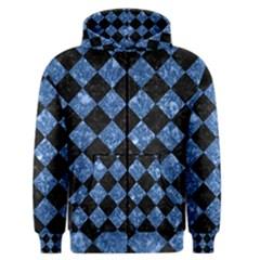 Square2 Black Marble & Blue Marble Men s Zipper Hoodie