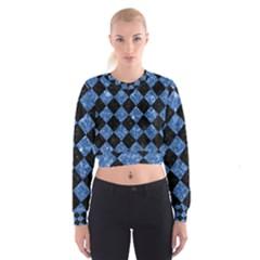 SQR2 BK-BL MARBLE Women s Cropped Sweatshirt