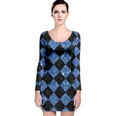 SQR2 BK-BL MARBLE Long Sleeve Velvet Bodycon Dress