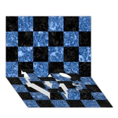 Square1 Black Marble & Blue Marble Love Bottom 3d Greeting Card (7x5)