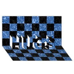 Square1 Black Marble & Blue Marble Hugs 3d Greeting Card (8x4)
