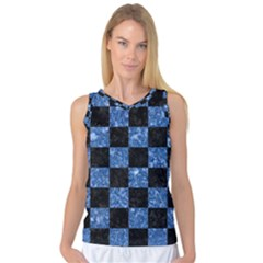 Square1 Black Marble & Blue Marble Women s Basketball Tank Top