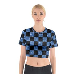 Square1 Black Marble & Blue Marble Cotton Crop Top