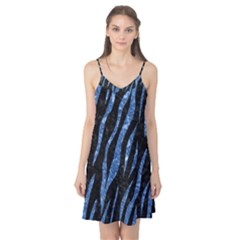 Skin3 Black Marble & Blue Marble (r) Camis Nightgown