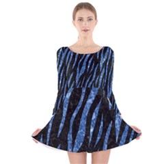 SKN3 BK-BL MARBLE (R) Long Sleeve Velvet Skater Dress