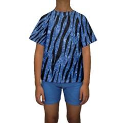 SKN3 BK-BL MARBLE Kid s Short Sleeve Swimwear