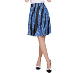 Skin3 Black Marble & Blue Marble A Line Skirt