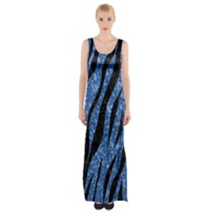 Skin3 Black Marble & Blue Marble Maxi Thigh Split Dress