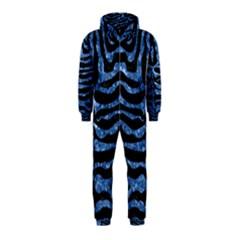 Skin2 Black Marble & Blue Marble (r) Hooded Jumpsuit (kids)
