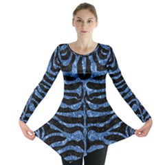 Skin2 Black Marble & Blue Marble (r) Long Sleeve Tunic
