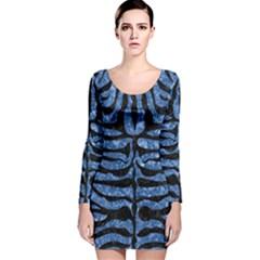 SKN2 BK-BL MARBLE Long Sleeve Velvet Bodycon Dress