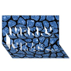 Skin1 Black Marble & Blue Marble (r) Merry Xmas 3d Greeting Card (8x4)