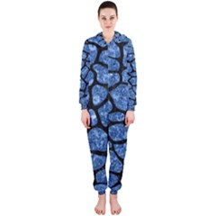 Skin1 Black Marble & Blue Marble (r) Hooded Jumpsuit (ladies)