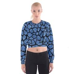 Skin1 Black Marble & Blue Marble (r) Cropped Sweatshirt
