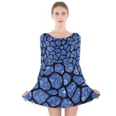 SKN1 BK-BL MARBLE (R) Long Sleeve Velvet Skater Dress