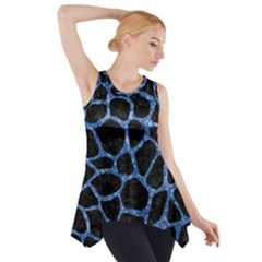SKN1 BK-BL MARBLE Side Drop Tank Tunic
